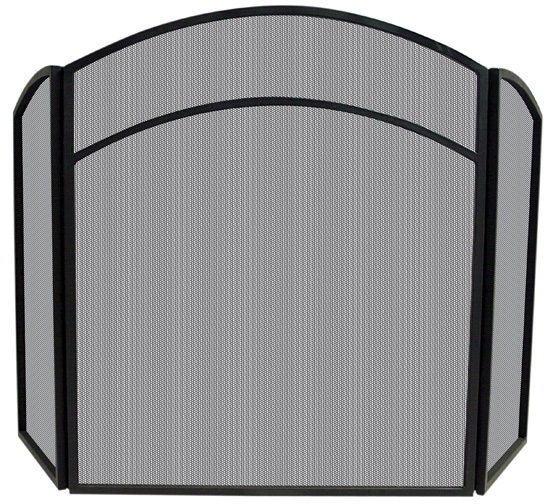 uniflame 3 fold arched black wrought iron fireplace screen