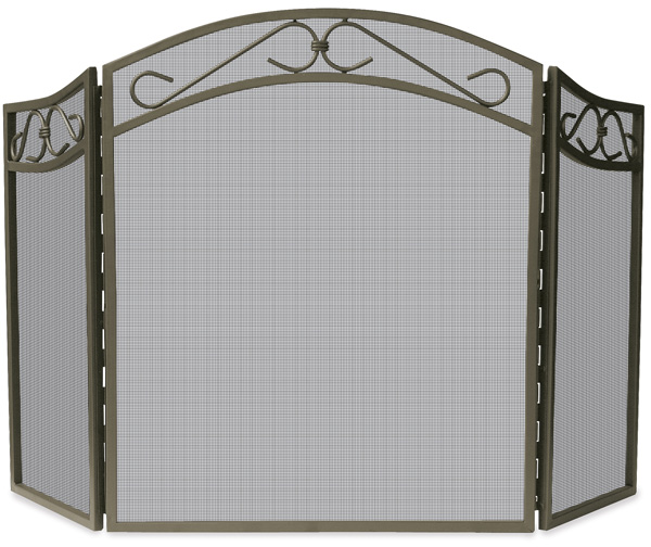 Uniflame 3 fold arched bronze wrought iron fireplace Decorative fireplace screens