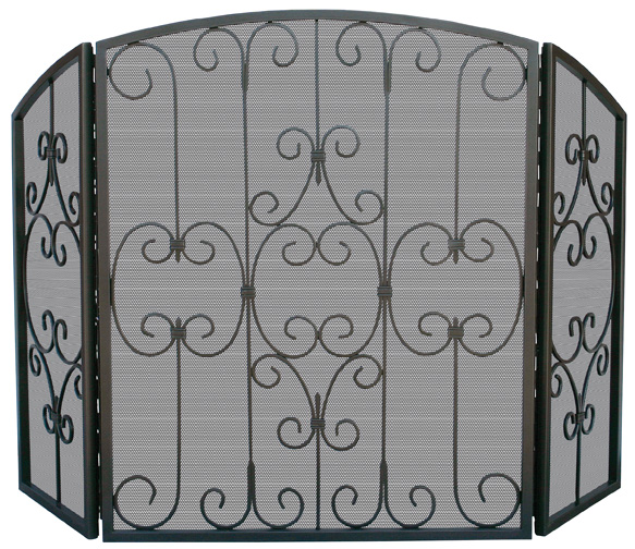 Uniflame 3 Fold Graphite Fireplace Screen With Decorative