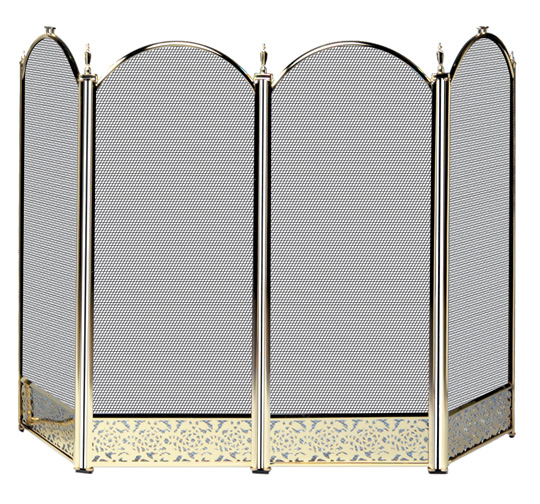Uniflame 4 Fold Polished Brass Fireplace Screen With