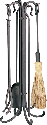 Uniflame 5 Piece Bronze Heavy Weight Rustic Fireplace Tool Set