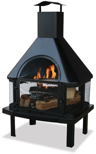 uniflame fireplace. UniFlame Black Outdoor Fireplace with Chimney