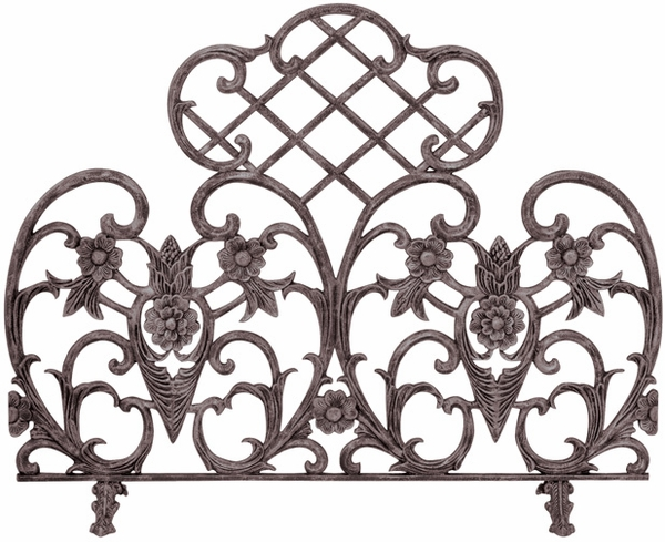 UniFlame Single Panel Bronze Cast Aluminum Fireplace Screen A single panel fireplace screen is easy to manage but stable on its broad base. At 33 inches tall and 42 inches wide