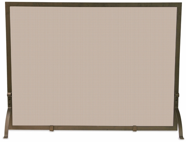 UniFlame Single Panel Bronze Fireplace Screen A fireplace screen adds a decorative element to your hearth while at the same time protecting your floors and carpet from stray sparks. This single panel screen features a simple design and wrought iron constr