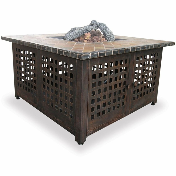 Square Slate / Marble Top Outdoor Gas Fireplace - Propane