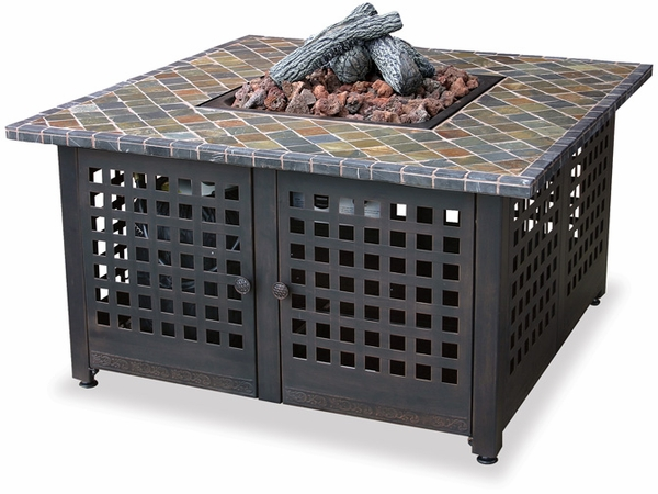 Uniflame Square Slate Marble Top Outdoor Gas Fireplace Propane