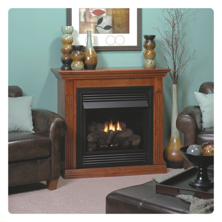 Empire Vail 26 Vent Free Special Edition Propane Fireplace With Wooden Mantel Nutmeg Vfd 26