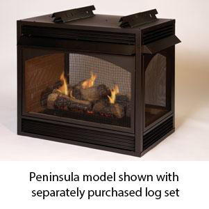 Empire Vail Premium Vent-Free Natural Gas Peninsula Fireplace - 36