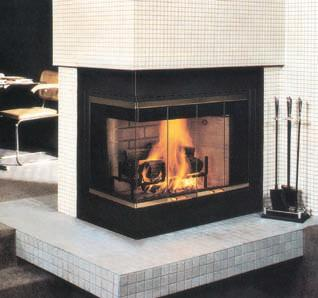 Vantage Hearth Corner 36 Inch Radiant Heat Louver Faced Wood Burning Fireplace With Left Side Open
