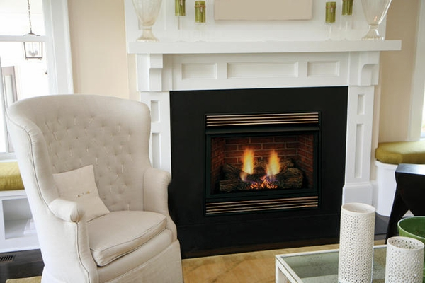 Majestic Vfh 32 Ventless Fireplace With 24 Triple Play Burner And Blazing Oak Logs Propane