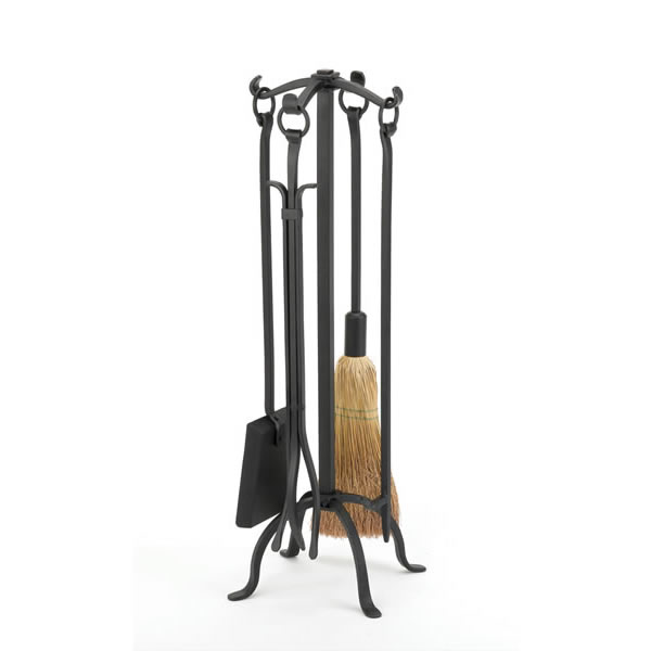 Woodfield Black Wrought Iron 4 Piece Fireplace Tool Set With Ring Handles 61221