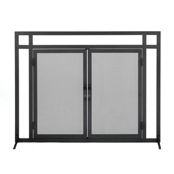 woodfield mission style black wrought iron fireplace hearth screen with doors 61235. Black Bedroom Furniture Sets. Home Design Ideas