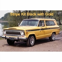 1975-1976 Jeep Cherokee S Stripe Kit Black with Gold