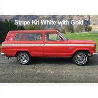 1975-1976 Jeep Cherokee S Stripe Kit White with Gold