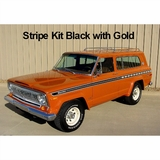 1977-1978 Jeep Cherokee S Stripe Kit Black with Gold