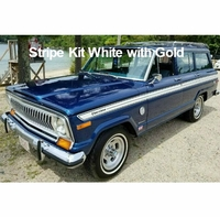 1977-1978 Jeep Cherokee S Stripe Kit White with Gold