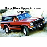 1981-1983 Cherokee Chief SJ Matte Black Upper & Lower Stripe Kit