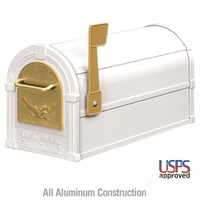 Eagle Mailbox White with Gold