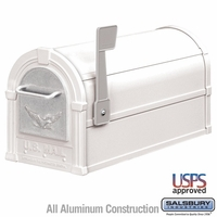 Eagle Mailbox White with Silver