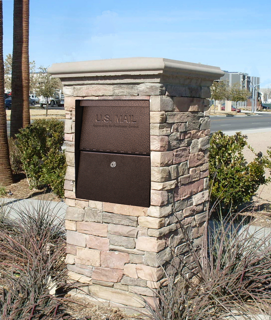High security locking mailbox in stone column for Best mailbox design