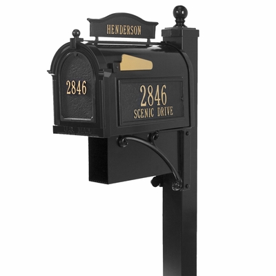 Whitehall Deluxe Mailbox and Post Black