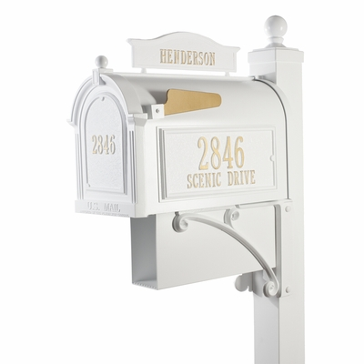 Whitehall Mailbox and Deluxe Post White