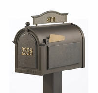 Whitehall Premium Mailbox Package with Topper and Door Address Plaque