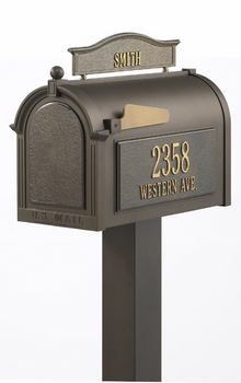 Whitehall Premium Mailbox Package with Topper and Side Address Plaques
