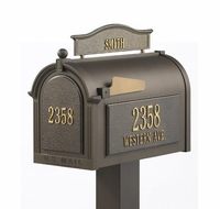 Whitehall Premium Mailbox Package with Topper, Front and Side Address Plaques