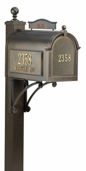 Whitehall Ultimate Mailbox Package with Topper, Front and Side Address Plaques
