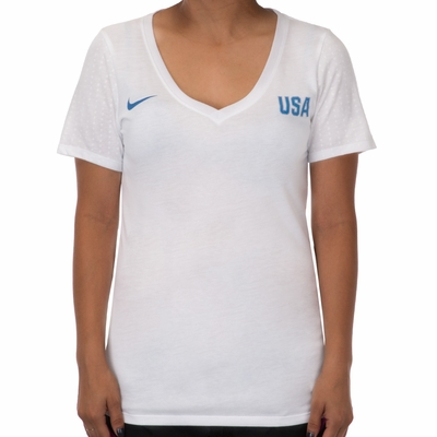 Women's Nike USA Match Tee - White - Click to enlarge