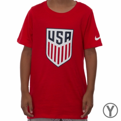Youth Nike USA Crest Tee - University Red - Click to enlarge