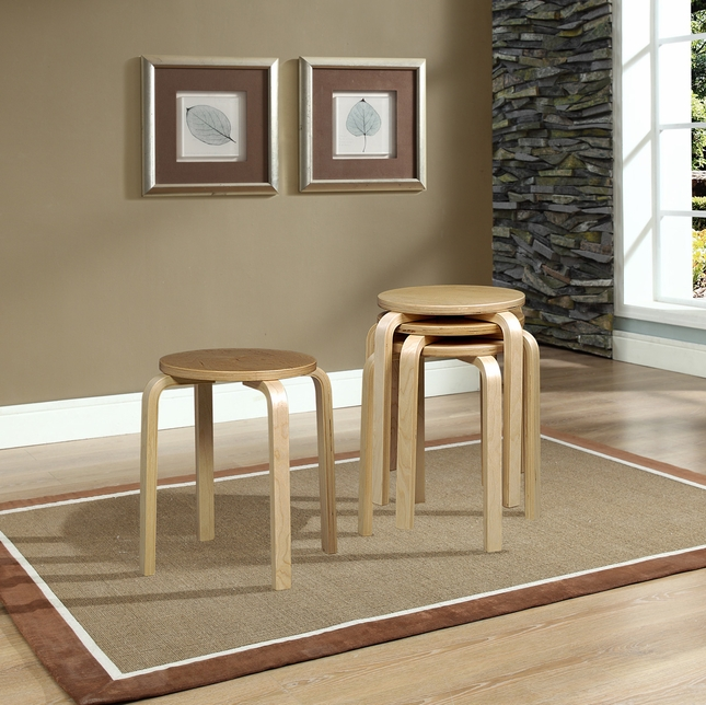 Natural Finish Set of 4 Bentwood Stacking Stools