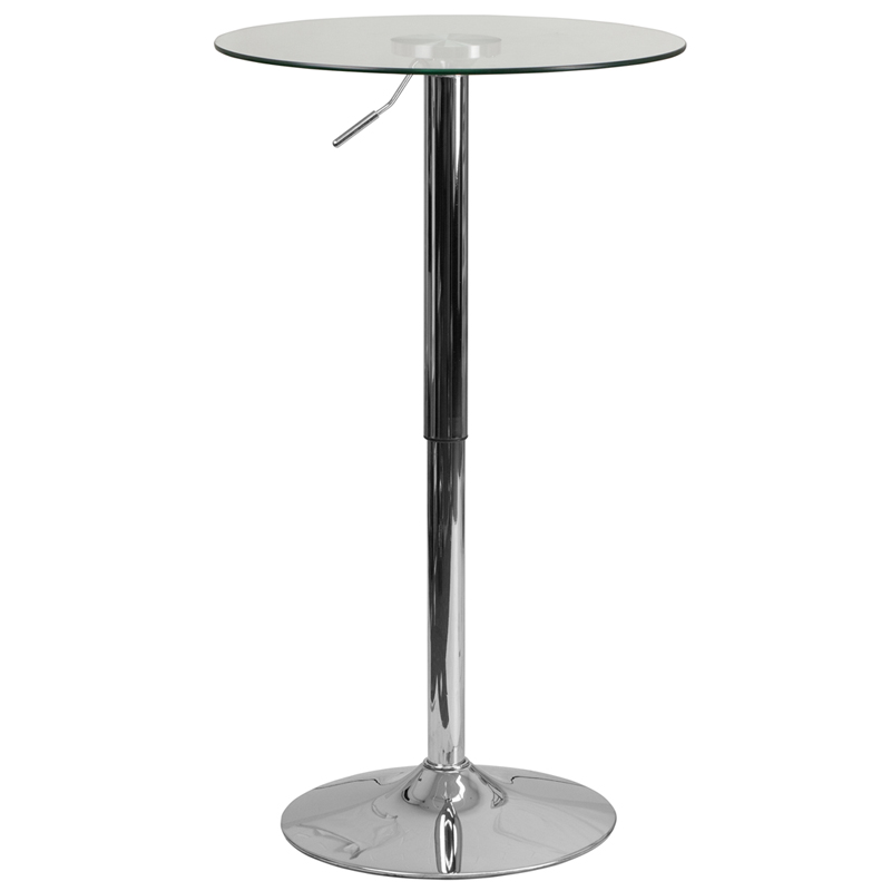 23.5'' Round Adjustable Height Glass Table (adjustable