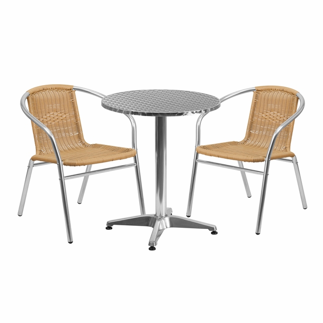 23.5'' Round Aluminum Indoor-Outdoor Table With 2 Beige Rattan Chairs