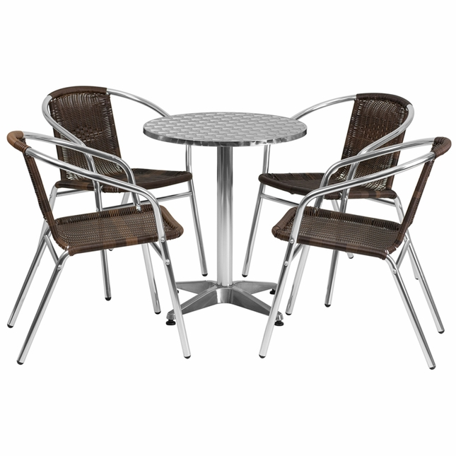 23.5'' Round Aluminum Indoor-Outdoor Table With 4 Dark Brown Rattan Chairs