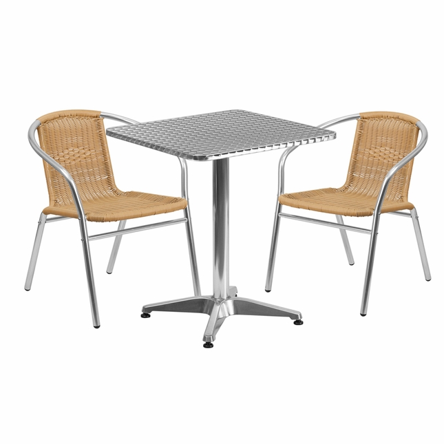 23.5'' Square Aluminum Indoor-Outdoor Table With 2 Beige Rattan Chairs