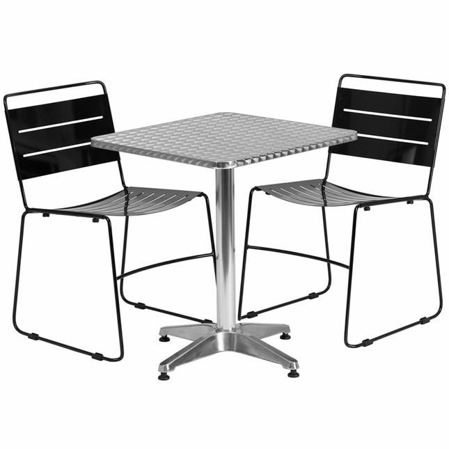 23.5'' Square Aluminum Indoor-Outdoor Table With 2 Black Metal Stack Chairs