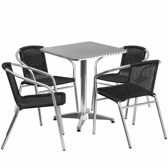 23.5'' Square Aluminum Indoor-Outdoor Table With 4 Black Rattan Chairs
