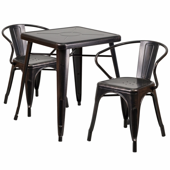 23.75'' Square Black Antique Gold Metal Indoor-Outdoor Table Set W/ 2 Arm Chairs