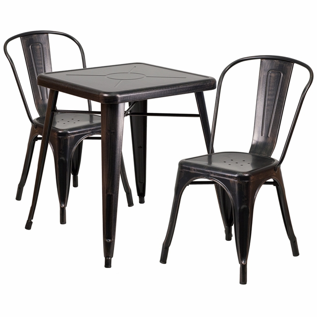 23.75'' Square Black Antique Gold Metal Indoor-Outdoor Table Set W/ 2 Stack Chairs