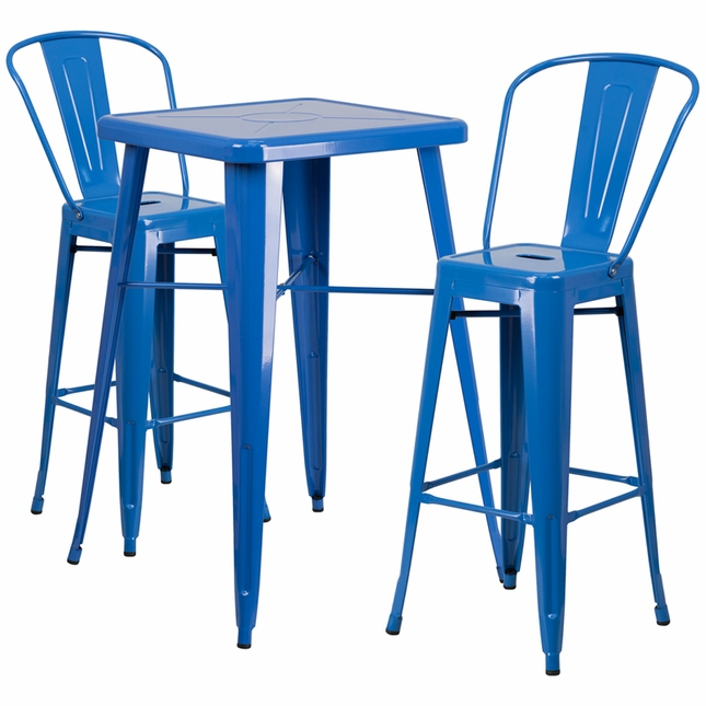 23.75'' Square Blue Metal Indoor-Outdoor Bar Table Set W/ 2 Barstools W/ Backs