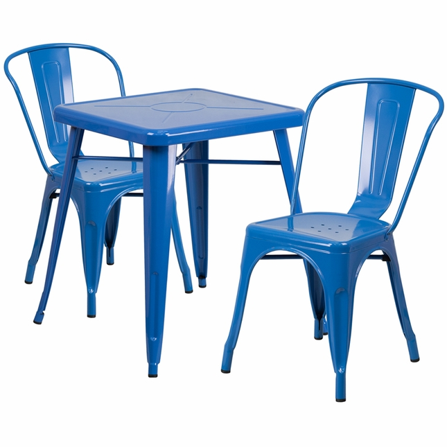 23.75'' Square Blue Metal Indoor-Outdoor Table Set With 2 Stack Chairs