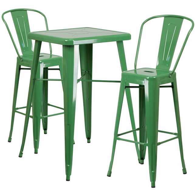 23.75'' Square Green Metal Indoor-Outdoor Bar Table Set W/ 2 Barstools W/ Backs