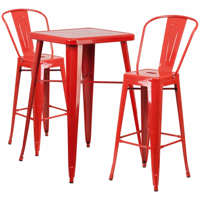 23.75'' Square Red Metal Indoor-Outdoor Bar Table Set W/ 2 Barstools W/ Backs