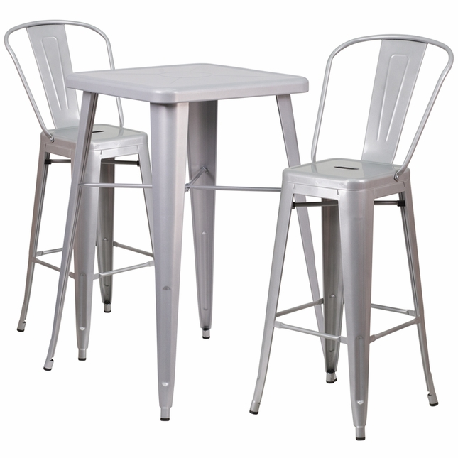 23.75'' Square Silver Metal Indoor-Outdoor Bar Table Set W/ 2 Barstools W/ Backs