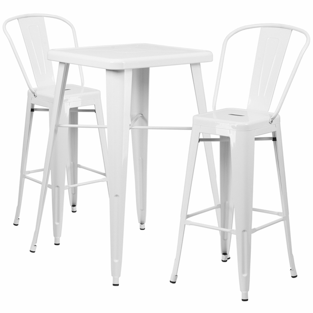 23.75'' Square White Metal Indoor-Outdoor Bar Table Set W/ 2 Barstools W/ Backs