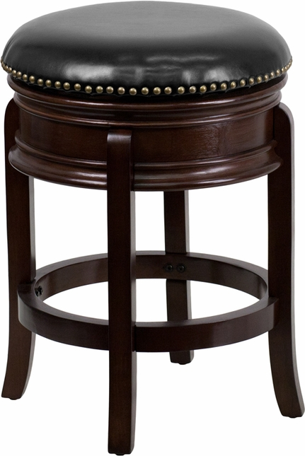 24'' Backless Cappuccino Wood Counter Height Stool W/ Black Leather Swivel Seat