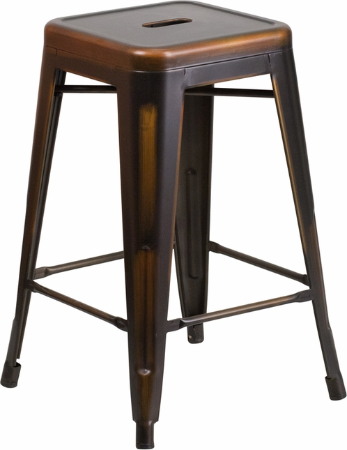 24'' High Backless Distressed Copper Metal Indoor-outdoor Counter Height Stool
