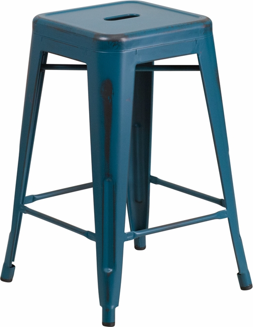 24'' High Backless Distressed Kelly Blue Metal Outdoor Counter Height Stool